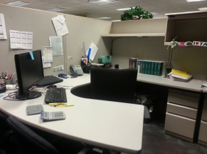 Goodbye to my cube - my desk never looked so clean!
