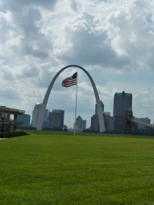 View of the arch from across the river