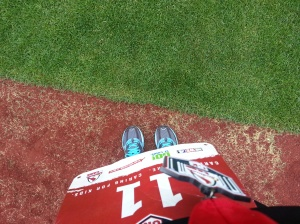 Looking down - feet pic on the warning track