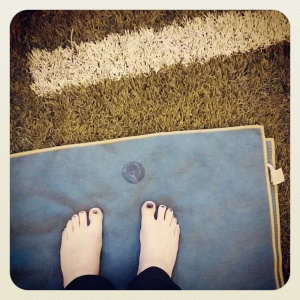 Day 16: Look down (yoga at the Edward Jones Dome)